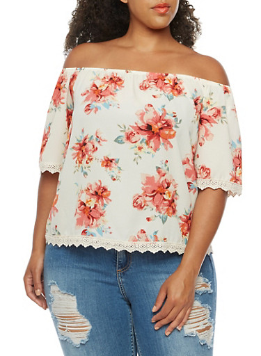 Plus Size Crochet Trim Off the Shoulder Top,IVORY/CORAL,large