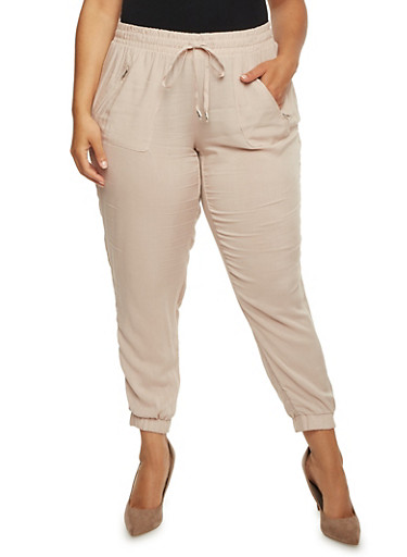 Plus Size Challis Joggers with Zip Pockets,COCOA POWDER,large