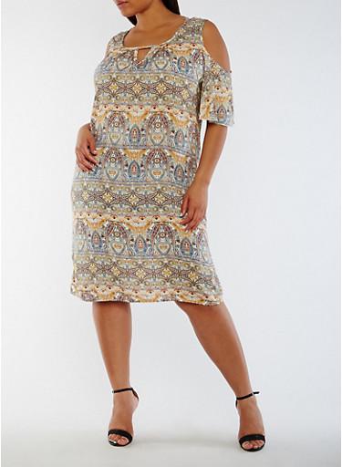 Plus Size Printed Cold Shoulder Dress,SAGE/BLU/YEL,large