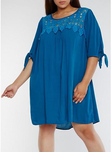 Plus Size Tie Sleeve Crochet Bib Dress,TEAL,large
