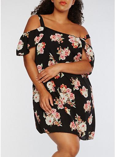 Plus Size Floral Cold Shoulder Dress,BLACK/RED,large