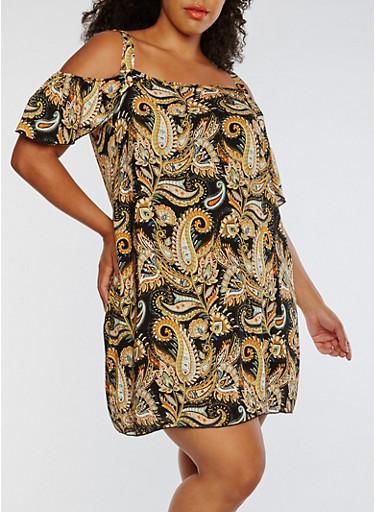 Plus Size Paisley Print Cold Shoulder Dress,BLACK/MUST,large