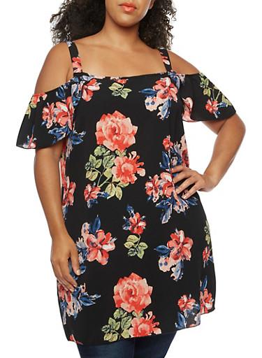 Plus Size Cold Shoulder Floral Dress,BLACK/SAGE,large