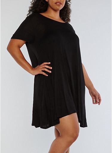 Plus Size Short Sleeve Solid Swing Dress,BLACK,large
