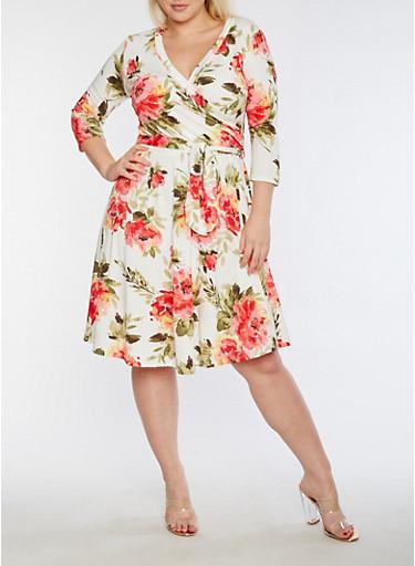 Plus Size Faux Wrap Floral Printed Midi Dress,IVORY,large