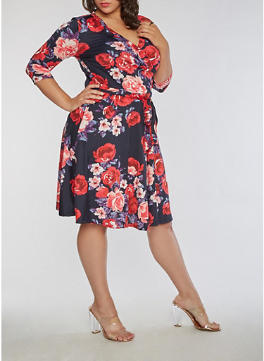 Plus Size Floral Faux Wrap Dress,NAVY,large