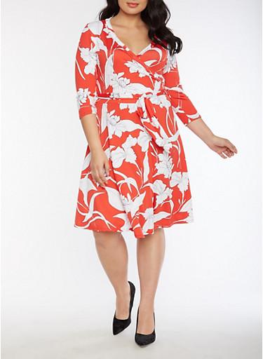 Plus Size Faux Wrap Floral Printed Midi Dress,RED,large