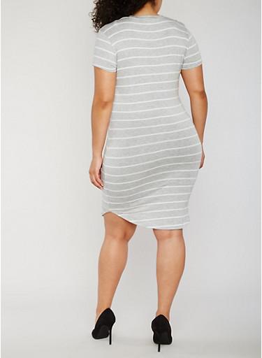 Plus Size Striped Short Sleeve T Shirt Dress - Rainbow