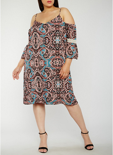 Plus Size Paisley Cold Shoulder Dress with Crochet Insert,BLK/PEACH/JADE,large