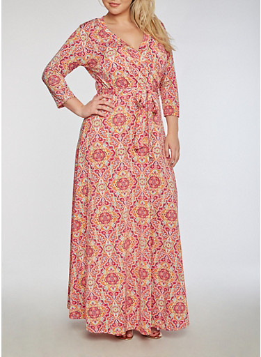 Plus Size Faux Wrap Printed Maxi Dress,BERRY/CORAL,large