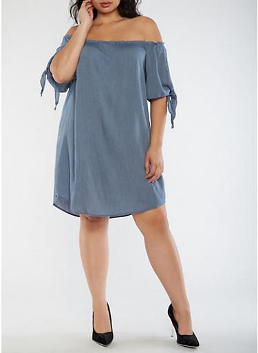 Plus Size Off the Shoulder Dress,BLUE,large