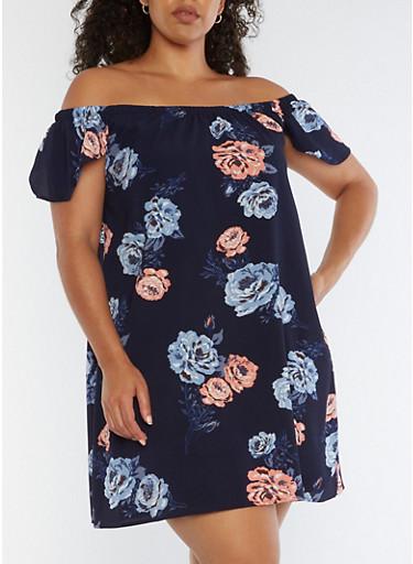 Plus Size Off the Shoulder Floral Shift Dress,NAVY,large