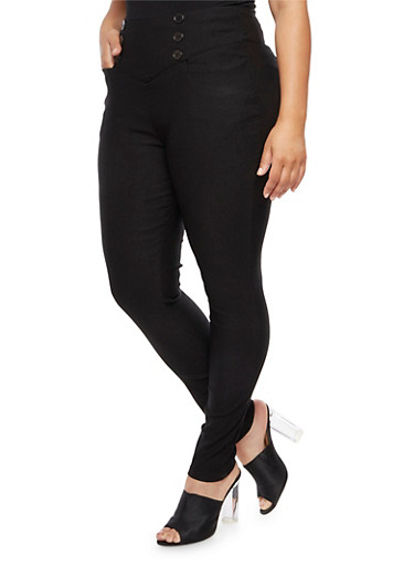 Plus Size High Wide Waisted Pants,BLACK,large