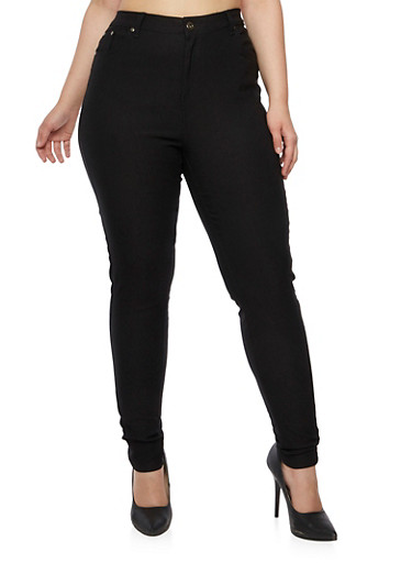 Plus Size Stretch Skinny Pants with Five Pockets,BLACK,large