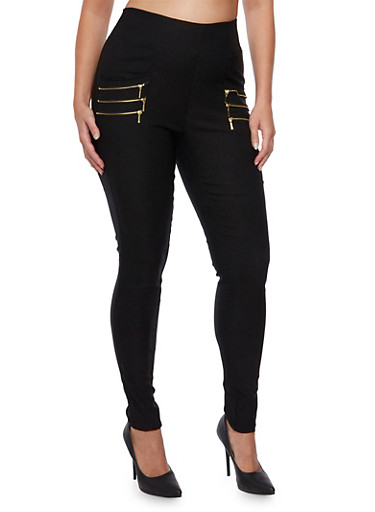 Plus Size Skinny Stretch Dress Pants with Zipper Accent Pockets,BLACK,large