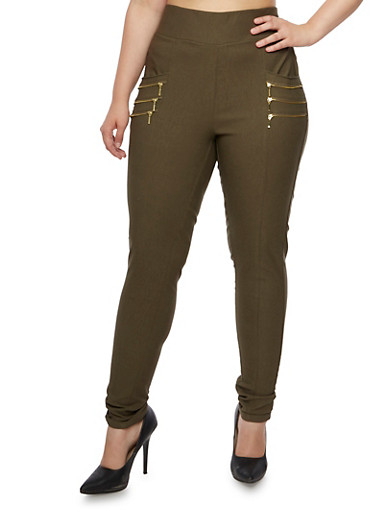 Plus Size Skinny Stretch Dress Pants with Zipper Accent Pockets,OLIVE S,large