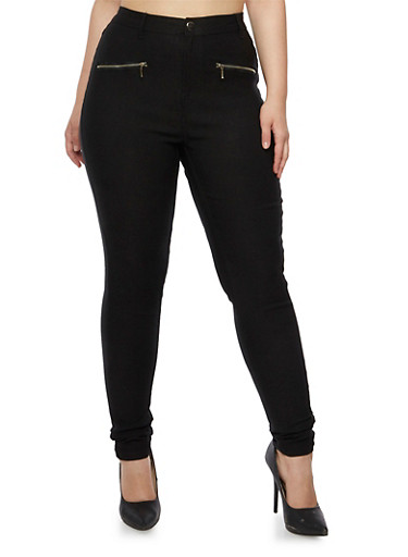 Plus Size High Waisted Stretch Pants with Zipper Detail,BLACK,large
