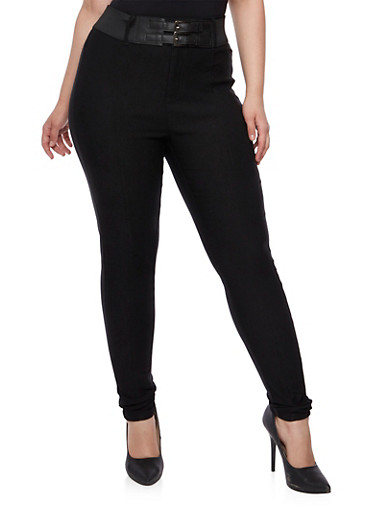 Plus Size Skinny Stretch Pants with High Waist and Double Buckle Belt,BLACK,large