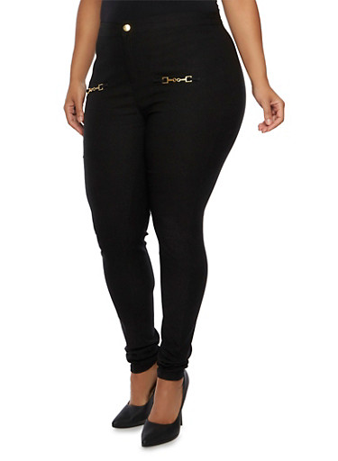 Plus Size Stretch Skinny Pants with Chain Details,BLACK,large