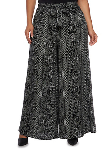 Plus Size Belted Palazzo Pants in Mixed Print,BLACK,large