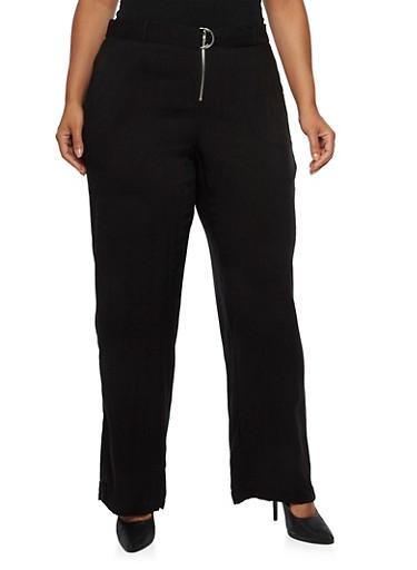Plus Size Wide Leg Pants with Belt,BLACK,large