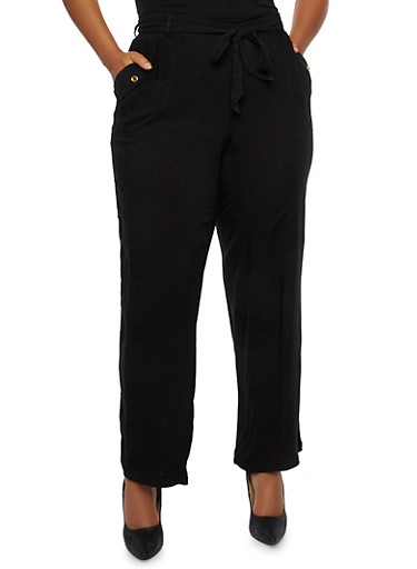 Plus Size Belted Wide Leg Pants with Pockets,BLACK,large