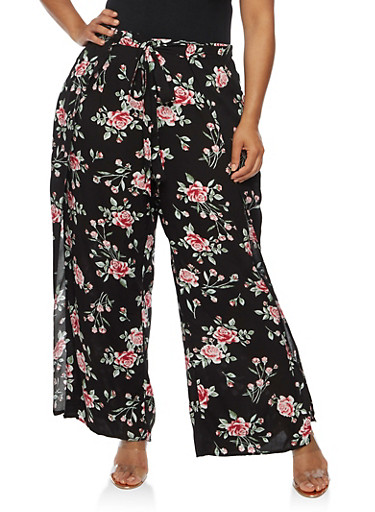Plus Size Floral Palazzo Pants with Open Sides,BLACK,large