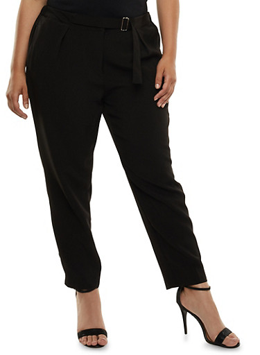 Plus Size Pleated Dress Pants with Belted Waist,BLACK,large