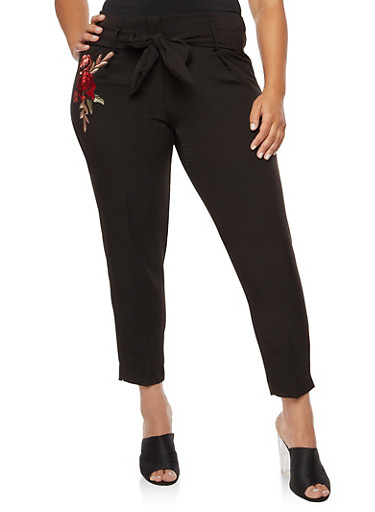 Plus Size Pleated Embroidered Dress Pants,BLACK,large