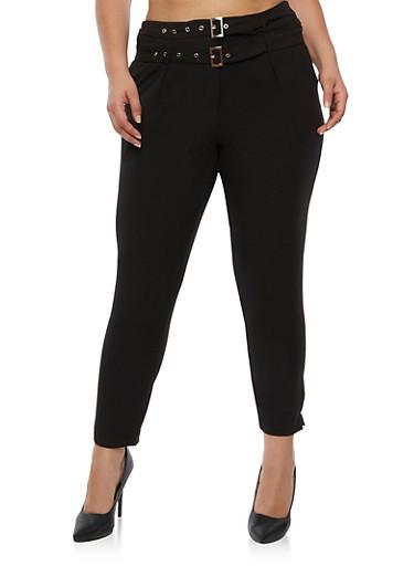 Plus Size Crepe Knit Dress Pants,BLACK,large