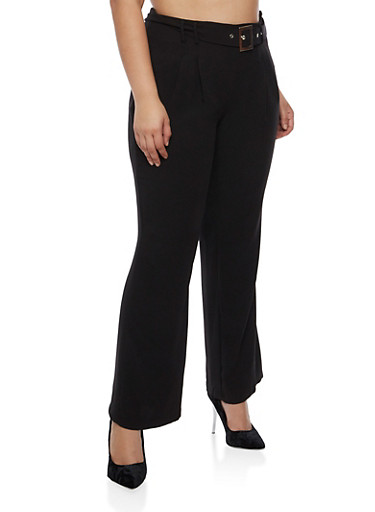 Plus Size Dress Pants with Tie Buckle,BLACK,large