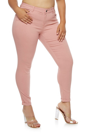 Plus Size Push Up Stretch Jeans,ROSE,large