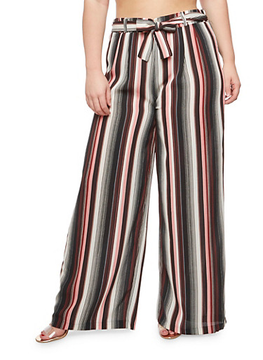 Plus Size Striped Crepe Knit Palazzo Pants at Rainbow Shops in Jacksonville, FL | Tuggl