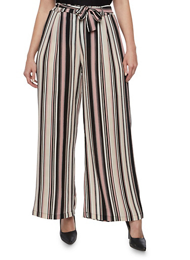 Plus Size Belted Striped Palazzo Pants,BLACK,large