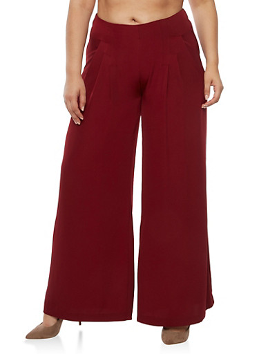 Plus Size Solid Pleated Palazzo Pants,BURGUNDY,large