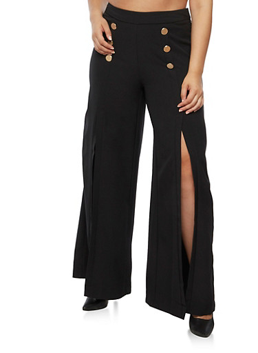 Plus Size Salior Wide Leg Pants with Slits and Zipper on Side,BLACK,large