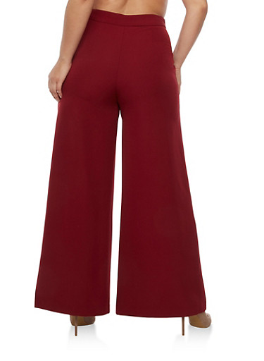 Plus Size Salior Wide Leg Pants with Slits and Zipper on Side ...