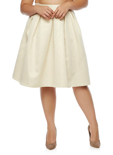 Plus Size Glitter Pleated Midi Skirt,GOLD,large