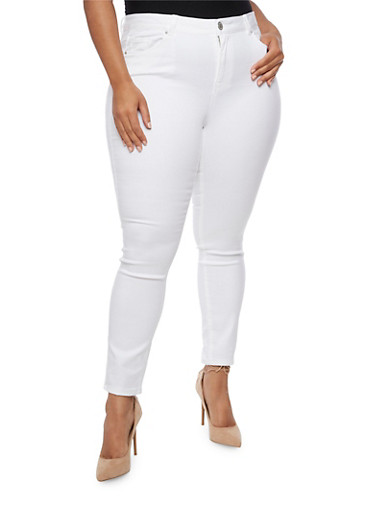 Plus Size Almost Famous White Skinny Jeans,WHITE,large