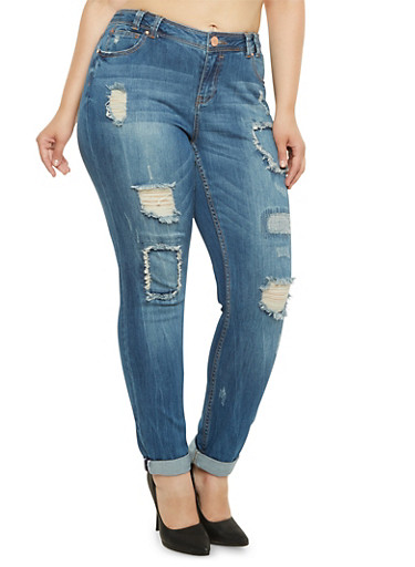 Plus Size Almost Famous Distressed Skinny Jeans,MEDIUM WASH,large