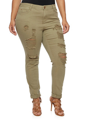 Plus Size Almost Famous Distressed Skinny Jeans,OLIVE,large
