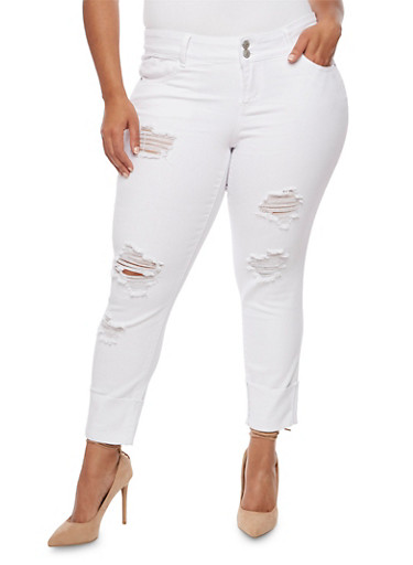 Plus Size Almost Famous Distressed Roll Cuff Jeans,WHITE,large