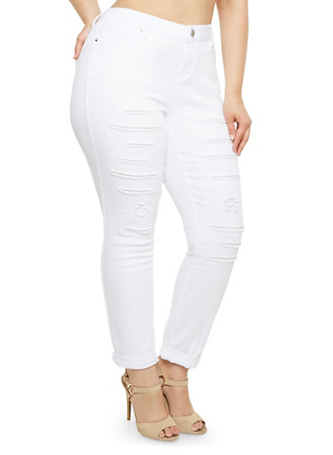 Plus Size Almost Famous Jeans with Backed Slash Cuts,WHITE,large