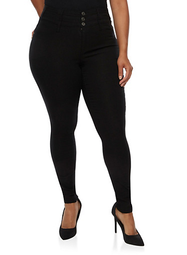 Plus Size Almost Famous 3 Button Hyperstretch Pants,BLACK,large