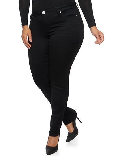 Plus Size Almost Famous Stretch Jeans,BLACK,large