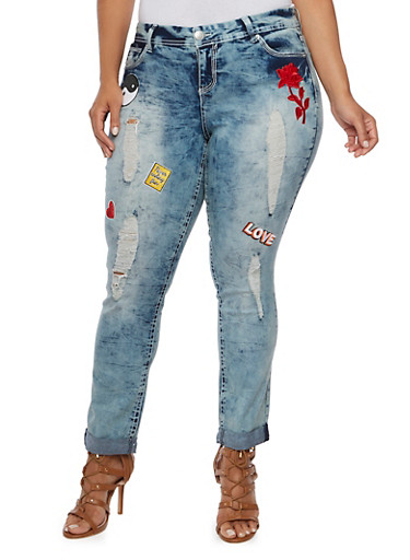 Plus Size Almost Famous Distressed Skinny Jeans with Patches,MEDIUM WASH,large