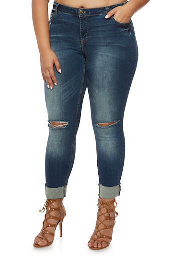 Plus Size Almost Famous Distressed Skinny Jeans,TINT WASH,large
