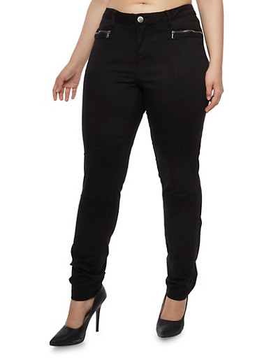 Plus Size Almost Famous Camo Skinny Pants with Zipper Accents,BLACK,large