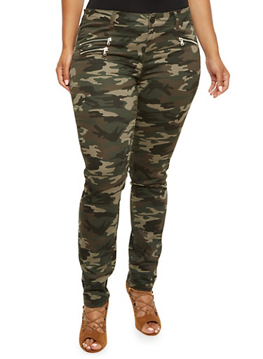 Plus Size Almost Famous Camo Skinny Pants with Zipper Accents,CAMOUFLAGE,large