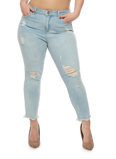 Plus Size Almost Famous Distressed Skinny Jeans,LIGHT WASH,large